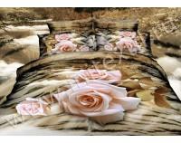 """Покрывало стеганое сатиновое 3D """"Розовые розы"""" с чехлами на подушки"""
