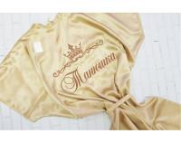 """Шелковый именной халат с вышивкой """"Корона 3 и Вензель 5"""""""