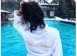 """Именной махровый классический халат с индивидуальной вышивкой """"Petrova"""""""