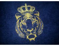 """Халат махровый классический темно-синий с вышивкой """"Тигр 1 с короной 7"""""""