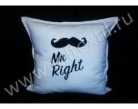 """Подушка с индивидуальной вышивкой """"Mr. Right"""""""