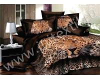 """Покрывало стеганное сатиновое """"Леопардовый"""" с чехлами на подушки"""