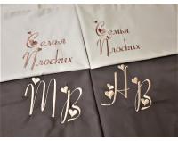 """Постельное белье """"Бежево - шоколадный"""" мако сатин однотонный с вышивкой на наволочках"""