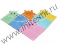 Уголок махровый купальный детский бирюзовый с рисунком собачки