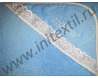 Уголок махровый для купания с именной вышивкой голубой
