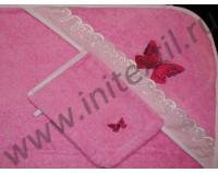 """Уголок махровый для купания с вышивкой """"Бабочки"""" розовый"""