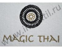 """Вышивка логотипа """"Magic Thai"""" на полотенцах и халатах"""