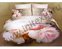 """Покрывало стеганое сатиновое 3D """"Бутоны роз"""" с чехлами на подушки"""