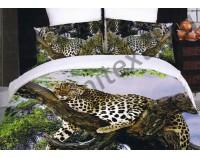 """Покрывало стеганное сатиновое 3D """"Спящий леопард"""" с чехлами на подушки"""