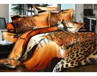 """Постельное белье """"Леопард на горе"""" мако сатин 3D"""