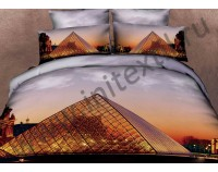 """Постельное белье """"Пирамида Лувра"""" мако сатин 3D"""