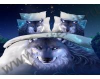"""Покрывало стеганое сатиновое 3D """"Волк"""" с чехлами на подушки"""