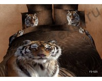 """Покрывало стеганое сатиновое 3D """"Индокитайский тигр"""" с чехлами на подушки"""