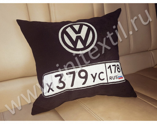 "Автоподушка с вышивкой логотипа  ""Volkswagen и номер"""