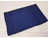 Полотенце коврик для ног махровый, темно-синий