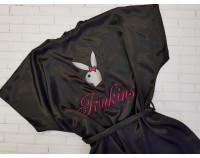 """Шелковый именной халат с вышивкой """"Playgirl"""""""