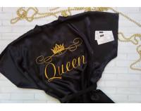 """Шелковый именной халат с вышивкой """"Queen"""""""