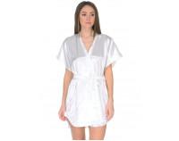 Шелковый халат белый