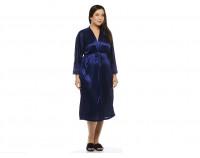 """Шелковый халат """"Elegance"""" темно-синий"""