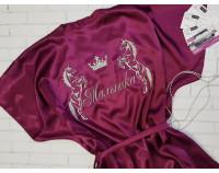 """Шелковый именной халат с вышивкой """"Единороги"""""""