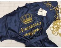 Шелковый именной халат с вышивкой короны 10 и имени