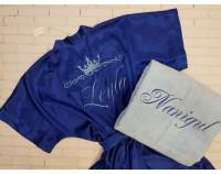 Набор шелковый халат и полотенце с вышивкой короны и имени