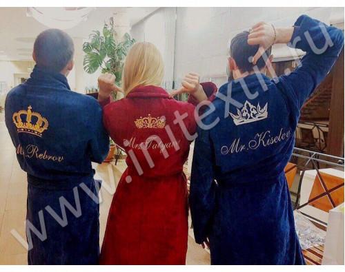 Именной махровый халат c вышивкой короны и фамилии