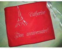 """Именной флисовый плед с вышивкой """"Bon anniversaire!"""""""