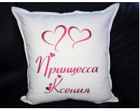 """Подушка декоративная с индивидуальной вышивкой """"Сердца"""""""
