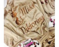 """Шелковый именной халат с вышивкой """"Miss Cat"""""""